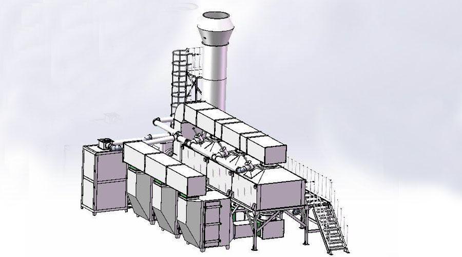 喷漆废气:干式过滤+催化燃烧rco